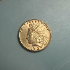 DATE 1912 S GOLD $10 INDIAN HEAD EAGLE COIN   BU     423