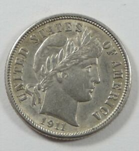 1911 D BARBER DIME ALMOST UNCIRCULATED SILVER 10 CENTS