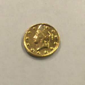 1849 $1 GOLD LIBERTY HEAD ONE DOLLAR COIN  OPEN WREATH WITH NO L