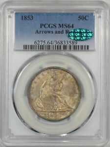 Click now to see the BUY IT NOW Price! 1853 SEATED LIBERTY HALF DOLLAR   ARROWS & RAYS PCGS MS 64 PREMIUM QUALITY