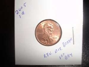 2005 LINCOLN CENT PENNY LARGE DIE CRACK CUD REVERSE ERROR COIN 1ST BAY