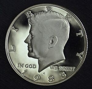 1983 S GEM PROOF CLAD KENNEDY HALF DOLLAR  DEEP MIRRORS  NICE DETAILS