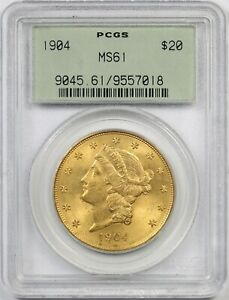 1904 $20 PCGS/OGH MS 61  OLD GREEN HOLDER  LIBERTY HEAD GOLD DOUBLE EAGLE