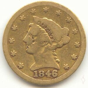 1846 $2.50 GOLD LIBERTY HEAD  EARLY DATE VG