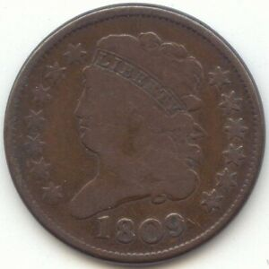 1809 CLASSIC HEAD HALF CENT PERFECT SMOOTH BROWN VG