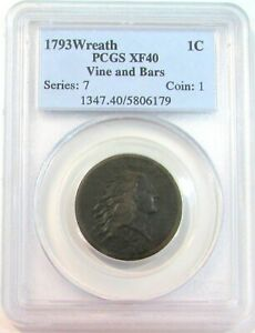 Click now to see the BUY IT NOW Price! 1793 WREATH LARGE CENT VINE & BARS PCGS XF 40