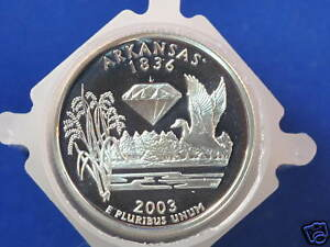 Click now to see the BUY IT NOW Price! 2003 S ARKANSAS STATEHOOD SILVER QUARTER PROOF ROLL OF 40 COINS