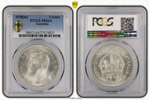 Click now to see the BUY IT NOW Price! AUSTRALIA 1938 SILVER CROWN PCGS MS64 EQUAL TOP POP 6/0 NEAR GEM UNC