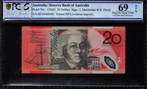 Click now to see the BUY IT NOW Price! 2005 AUSTRALIA $20 BANKNOTE SPECIMEN SERIAL BI05  000000  PCGS SUPERB GEM UNC 69