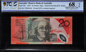 Click now to see the BUY IT NOW Price! 2007 AUSTRALIA $20 BANKNOTE SPECIMEN SERIAL AC07  000000  PCGS SUPERB GEM UNC 68