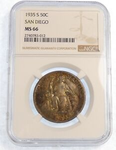 1935 S CA PACIFIC INT EXPO SAN DIEGO SILVER COMMEMORATIVE HALF DOLLAR NGC MS 66