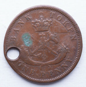 1854 BANK OF UPPER CANADA ONE  1  PENNY TOKEN COIN.