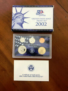 2002 S UNITED STATES CLAD PARTIAL PROOF SET. 5 COIN SET.  WITH BOX & COA