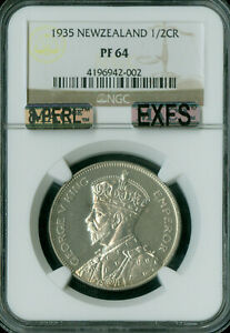 Click now to see the BUY IT NOW Price! 1935 NEW ZEALAND HALF CROWN NGC MAC PR 64 8 PERLS  .
