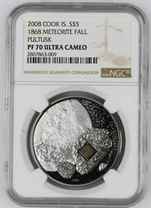 Click now to see the BUY IT NOW Price! 2008 COOK ISLANDS SILVER $5   PULTUSK METEORITE   PF70 UC NGC COIN   POP 2