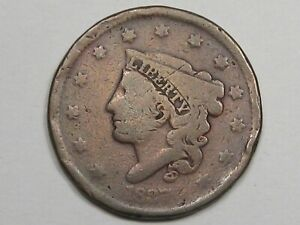 1837 US CORONET HEAD LARGE CENT COIN.  7