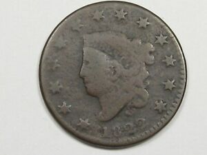 1822 US CORONET HEAD LARGE CENT COIN.  11