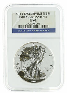 2011 P   1OZ REVERSE PROOF AMERICAN SILVER EAGLE PF69 NGC   BLUE