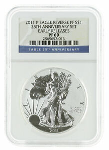 2011 P   1OZ REVERSE PROOF AMERICAN SILVER EAGLE PF69 NGC   EARLY RELEASE BLUE