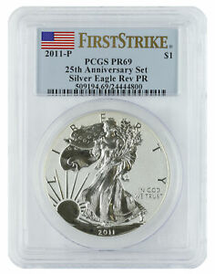 2011 P   1OZ REVERSE PROOF AMERICAN SILVER EAGLE PR69 PCGS   FIRST STRIKE FLAG