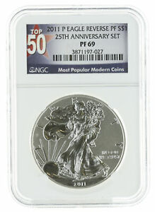 2011 P   1OZ REVERSE PROOF AMERICAN SILVER EAGLE PF69 NGC   TOP 50