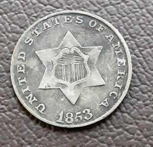 1853 3 CENT SILVER PIECE      FINE LY