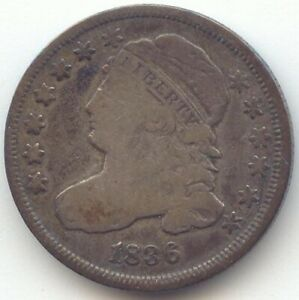 1836 CAPPED BUST DIME PROBLEM FREE VG