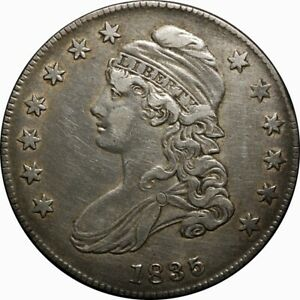 1835 50C CAPPED BUST SILVER HALF DOLLAR XF EF  OLD TYPE COIN MONEY