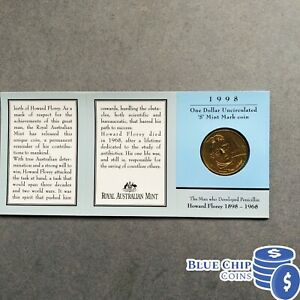 1998 $1 UNC HOWARD FLOREY S MINT MARK COIN IN FOLDER