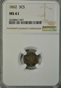 1862 3 CENT SILVER TYPE III NGC MS61