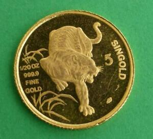 1986 YEAR OF THE TIGER 1/20TH OUNCE .9999 FINE GOLD SINGAPORE 5 SINGOLD COIN