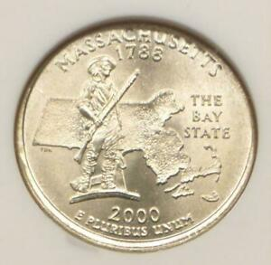 2000 NGC MS 65 PARTIAL COLLAR MASSACHUSETTS STATE QUARTER MS 65 MINT ERROR COIN