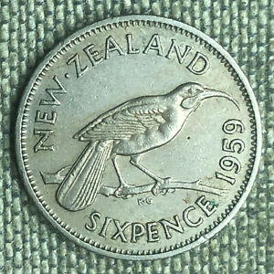 NEW ZEALAND 6 PENCE 1959   A04510