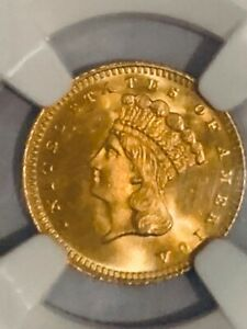 1880 TYPE 3 GOLD INDIAN PRINCES $1   MS 67