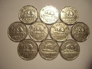 CANADA GEORGE VI 1947 ML FIVE CENTS   LOT OF 10 COINS