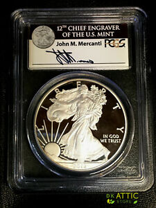 2012 S SILVER EAGLE PROOF   75TH ANNIVERSARY   PCGS PR70   MERCANTI FIRST STRIKE