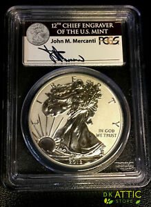 2012 S SILVER EAGLE REV PROOF 75TH ANNIVERSARY PCGS PR70 MERCANTI   FIRST STRIKE