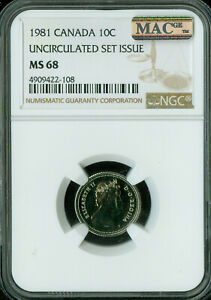 1981 CANADA 10 CENTS NGC MAC MS 68 PQ 2ND FINEST GRADE SPOTLESS  .
