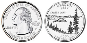 2005 P WASHINGTON QUARTER DOLLAR OREGON 1859 CRATER LAKE   CIRCULATED 25C USED