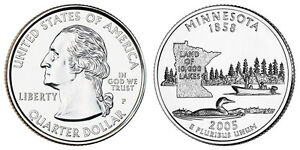 2005 P WASHINGTON QUARTER MINNESOTA LAND OF 10 000 LAKES   CIRCULATED 25C USED