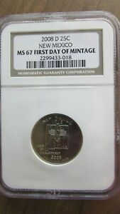 2008 D NEW MEXICO STATE QUARTER NGC MS67 FIRST DAY OF MINTAGE