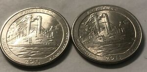 2011 P AND D 2 COIN VICKSBURG WASHINGTON NATIONAL PARKS QUARTERS SET