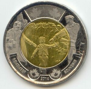 CANADA 2014 REMEMBER TOONIE CANADIAN 2 DOLLAR $2 TWO DOLLAR EXACT COIN SHOWN