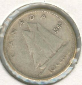 CANADA 1943 SILVER DIME CANADIAN 10 CENT PIECE 10C 10 C EXACT COIN SHOWN