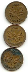 CANADA 1941 1942 1943 ONE CENT CANADIAN PENNIES 1C EXACT SET