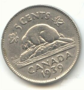 CANADA 1939 CANADIAN NICKEL 5C FIVE CENT PIECE 5 CENTS BEAVER EXACT COIN SHOWN