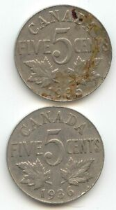 CANADA 1935 1936 CANADIAN NICKEL 5C FIVE CENT PIECE 5 CENTS  EXACT  SET