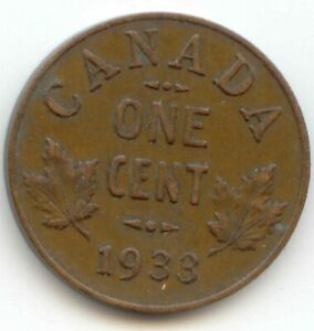 CANADA 1933 PENNY CANADIAN 1 CENT ONE 1C  EXACT  COIN