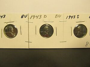 1943 STEEL  P D AND S<> LINCOLN WHEAT PENNYS  <>  SOLD TOGETHER  7/17