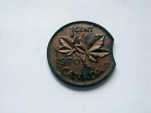 1970 CANADA SMALL CENT   CLIPPED PLANCHET